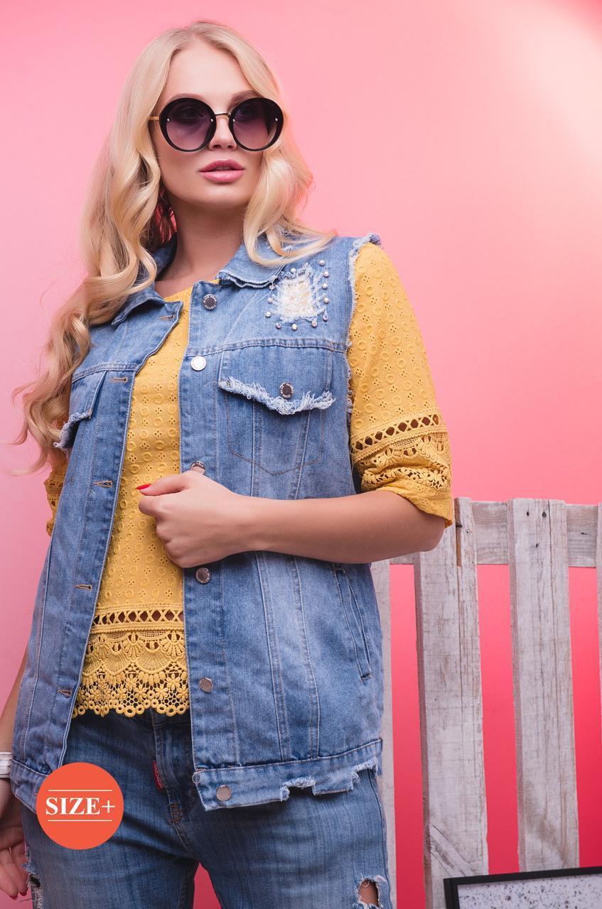 Короткий джинсовый женский жилет с карманами 1742 tezbl1436
