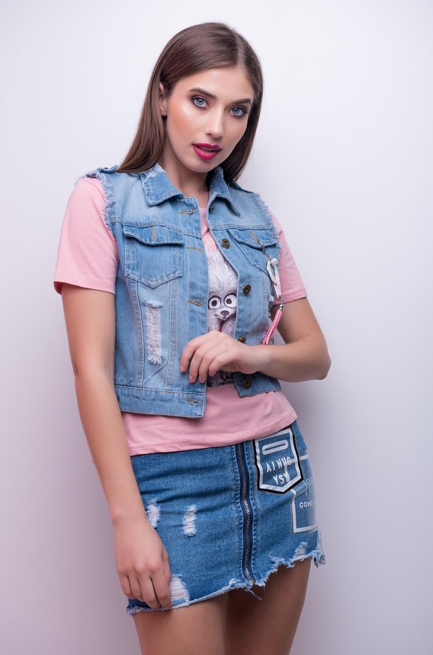 Женская джинсовая безрукавка на пуговицах с карманами 1246 tezbl1439