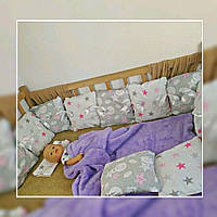 Комплект бортиков со сьемными наволочками в кроватку |  Комплект бортиків зі зйомними наволочками в ліжечко