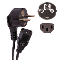Сетевой шнур для системного блока и монитора, 1,8м, черный