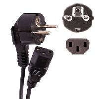 Сетевой шнур для системного блока и монитора, 3м, черный