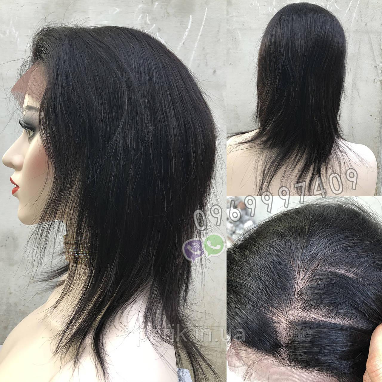 💎Парик натуральный, чёрные ровные волосы💎 (имитация кожи головы)