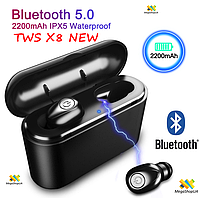 Беспроводные Bluetooth Наушники TWS X8 NEW. Air Pro с кейсом для зарядки Box 2200 мАч - Power Bank TWS X8 NEW