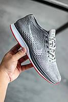 Мужские кроссовки Nike Flyknit Racer Grey (найк флайнит рейсер, серые)