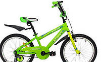 "Велосипед 16"" дюймов 2-х колесный Azimut stitch, салат, звоночек, катафоты, брызговики, доп.колеса"