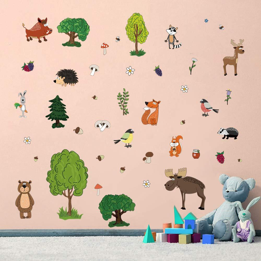 Детские наклейки для творчества DecalMile Лесные животные 50 шт премиум