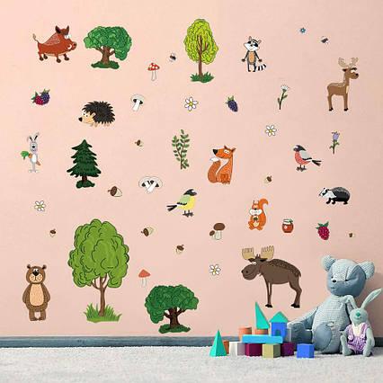Детские наклейки для творчества DecalMile Лесные животные 50 шт премиум, фото 2