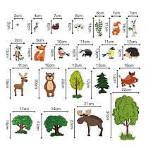 Детские наклейки для творчества DecalMile Лесные животные 50 шт премиум, фото 3