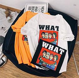 Футболки W H A T. Размер единый 42-46 цвета: чёрный, белый, жёлтый (5403)