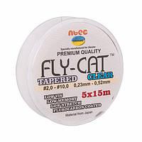 Шок лидер конический Ntec FlyCat 5х15м, Clear