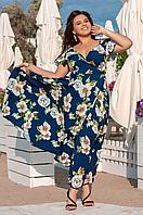 Летнее платье длинное с юбкой клеш, 48-54 размер, фото 1