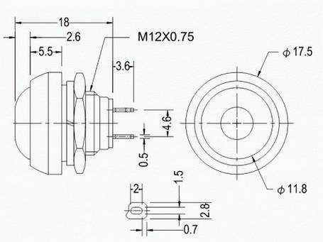 Кнопка круглая без фиксации 250V, черная, (OFF-ON), фото 2