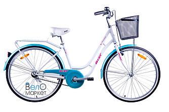 """Велосипед AIST AVENUE 1.0, рама 17"""", колесо 26"""", / Міській з кошиком / Жіночий / Білий/Блакитний"""