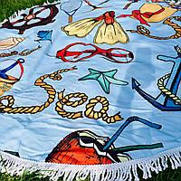 Пляжные круглые полотенца / покрывала с бахрамой Очки Шляпа Якорь