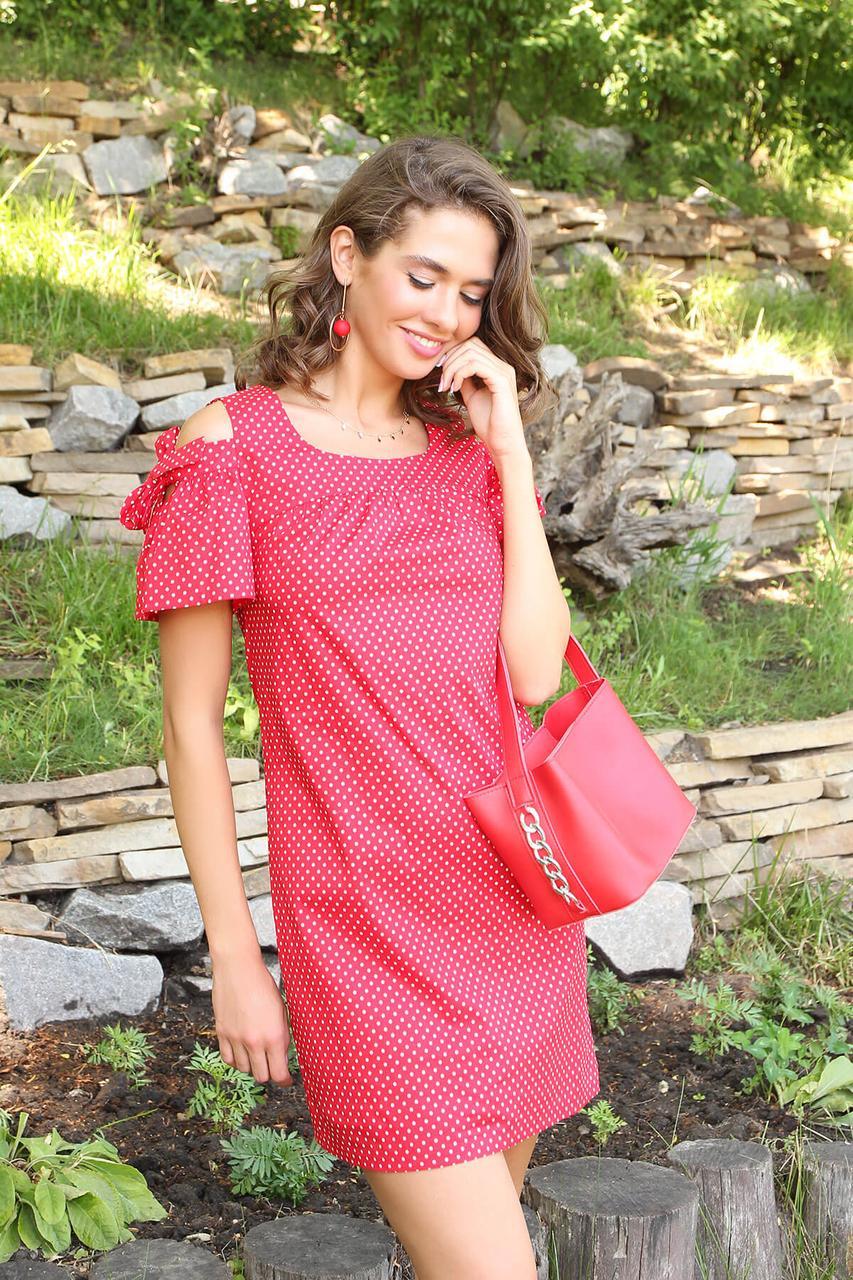 Летнее красное платье короткое с открытыми плечами