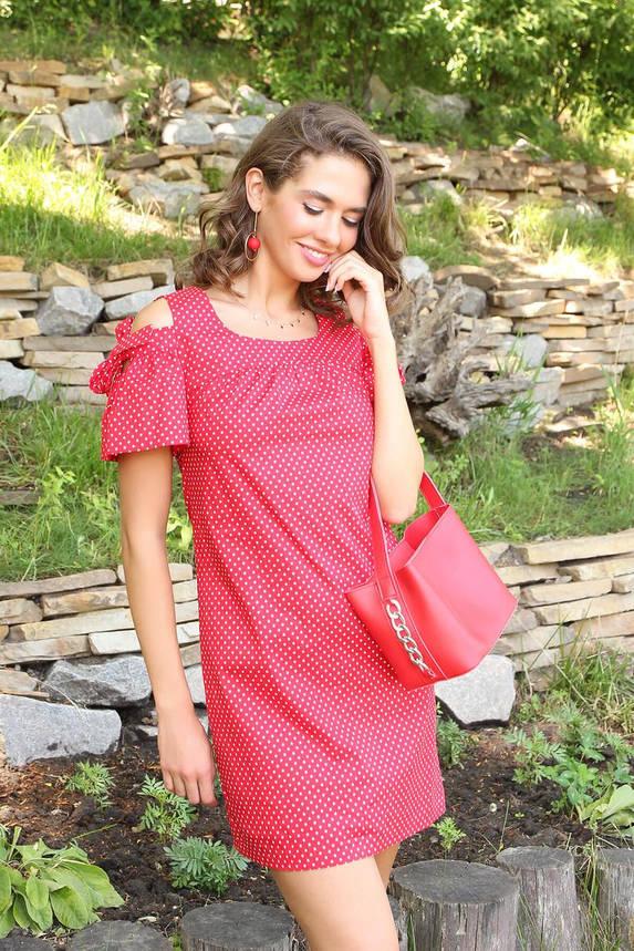 Летнее красное платье короткое с открытыми плечами, фото 2