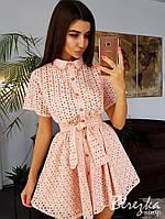 9fda2ccc55d0b42 Платье - рубашка из прошвы приталенное с поясом и коротким рукавом 66033080