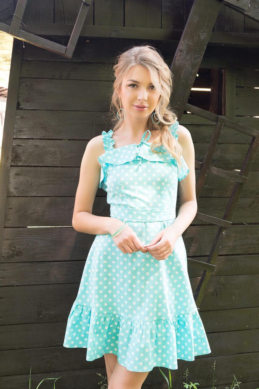 Летнее платье-сарафан короткое с открытыми плечами