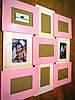 Панно из дерева для 9 фото, цвет комбинированный розовый и белый