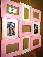 Панно из дерева для 9 фото, цвет комбинированный розовый и белый, фото 1