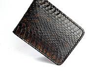 Портмоне мужское с кожи змеи ручной работы коричневого цвета Tsar.store с ручным швом