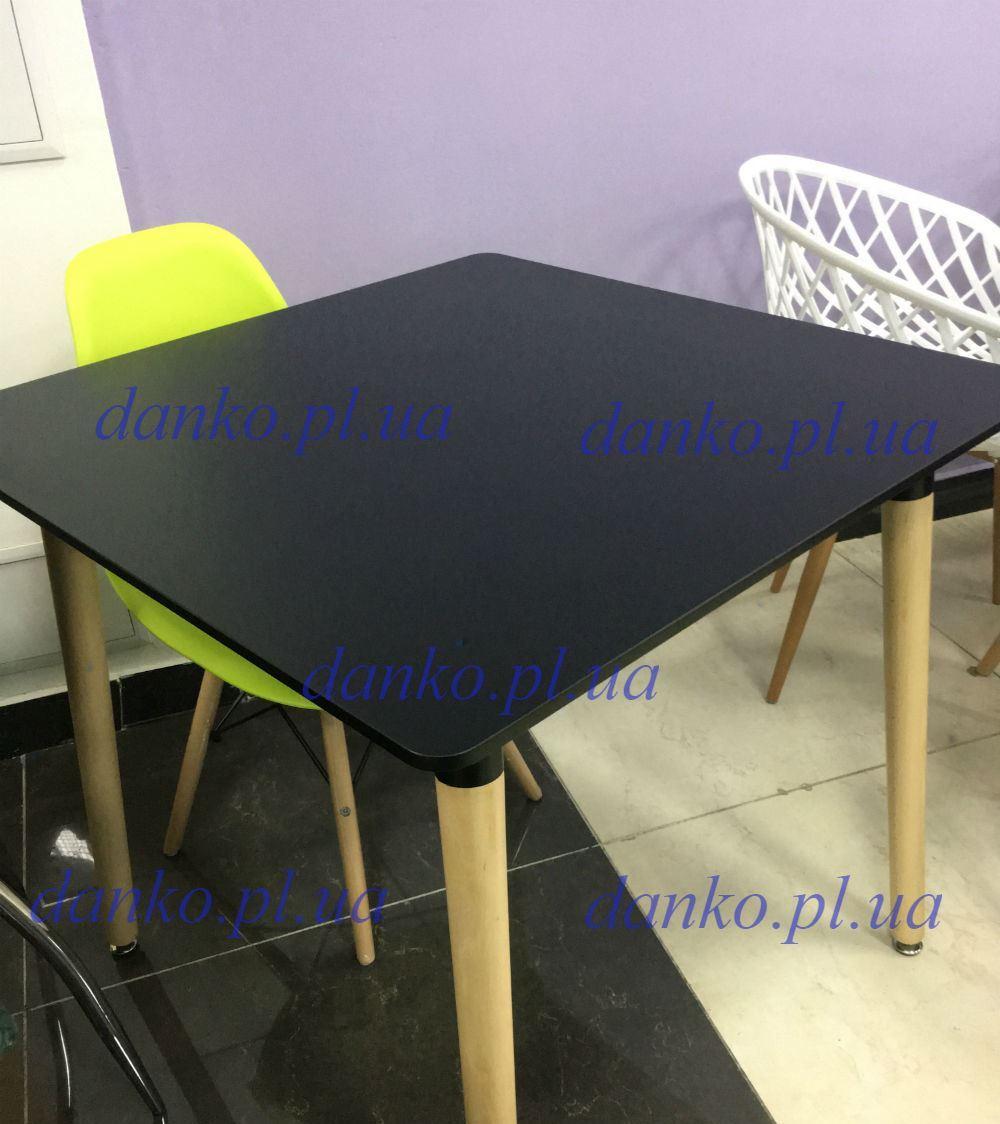 Стол TM-30 черный Vetro Mebel 80х80 см, ножки из бука