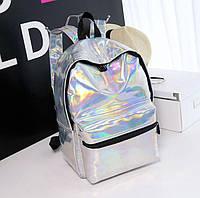 Голографический городской рюкзак серебро большой