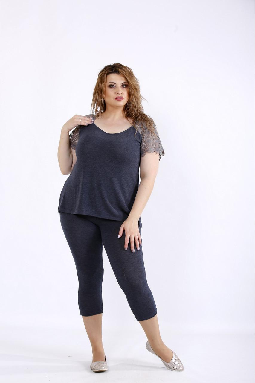 / Размер 42-74 / Женский серый удобный комплект: капри и блузка 01195