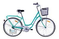 """Велосипед  AIST AVENUE 1.0, рама 17"""", колесо 26"""", / Городской с корзиной / Женский / Бирюзовый/Белый"""