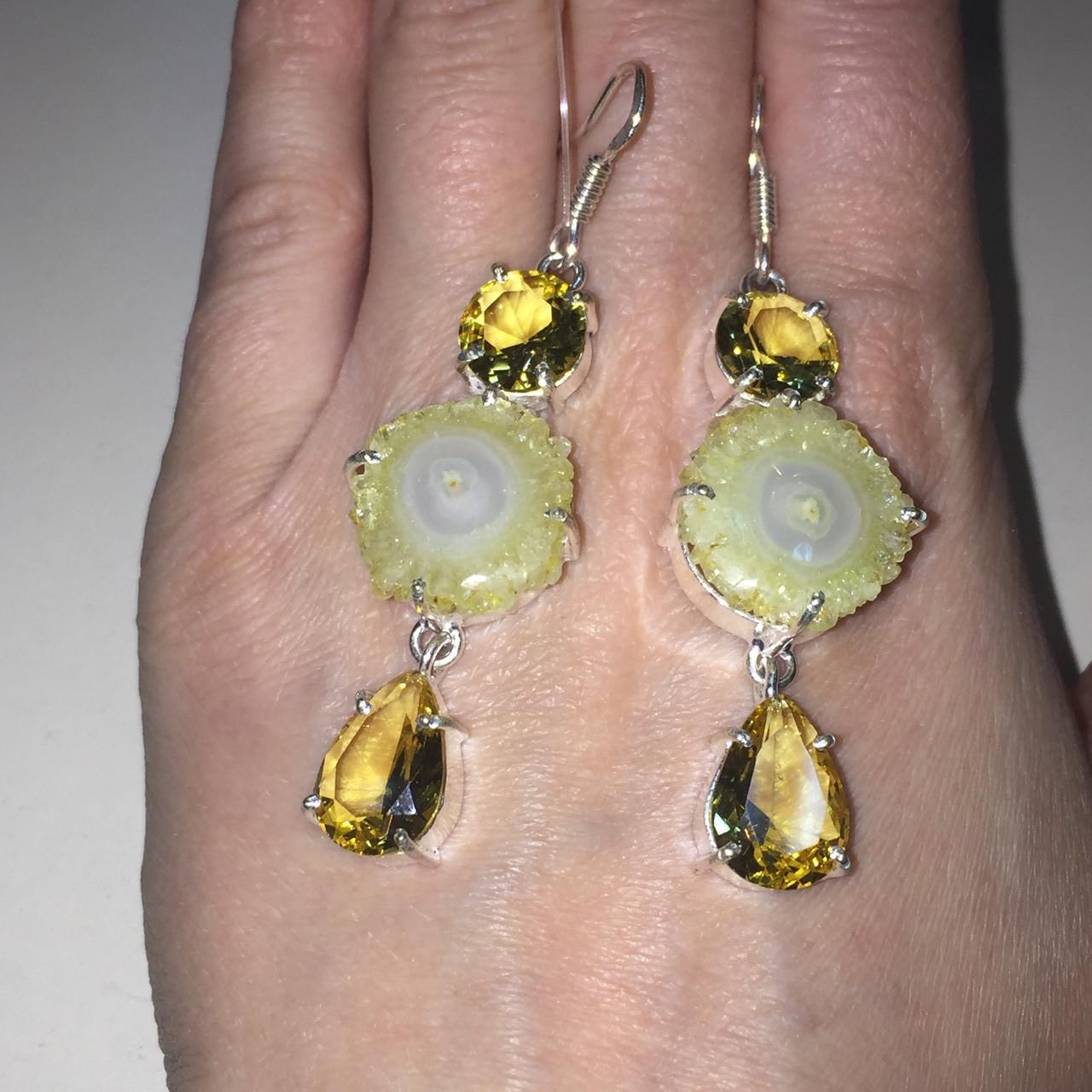 Цитрин и солнечный кварц серьги с солнечным кварцем и цитрином в серебре. Серьги с солярным кварцем Индия