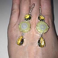Цитрин и солнечный кварц серьги с солнечным кварцем и цитрином в серебре. Серьги с солярным кварцем Индия, фото 1