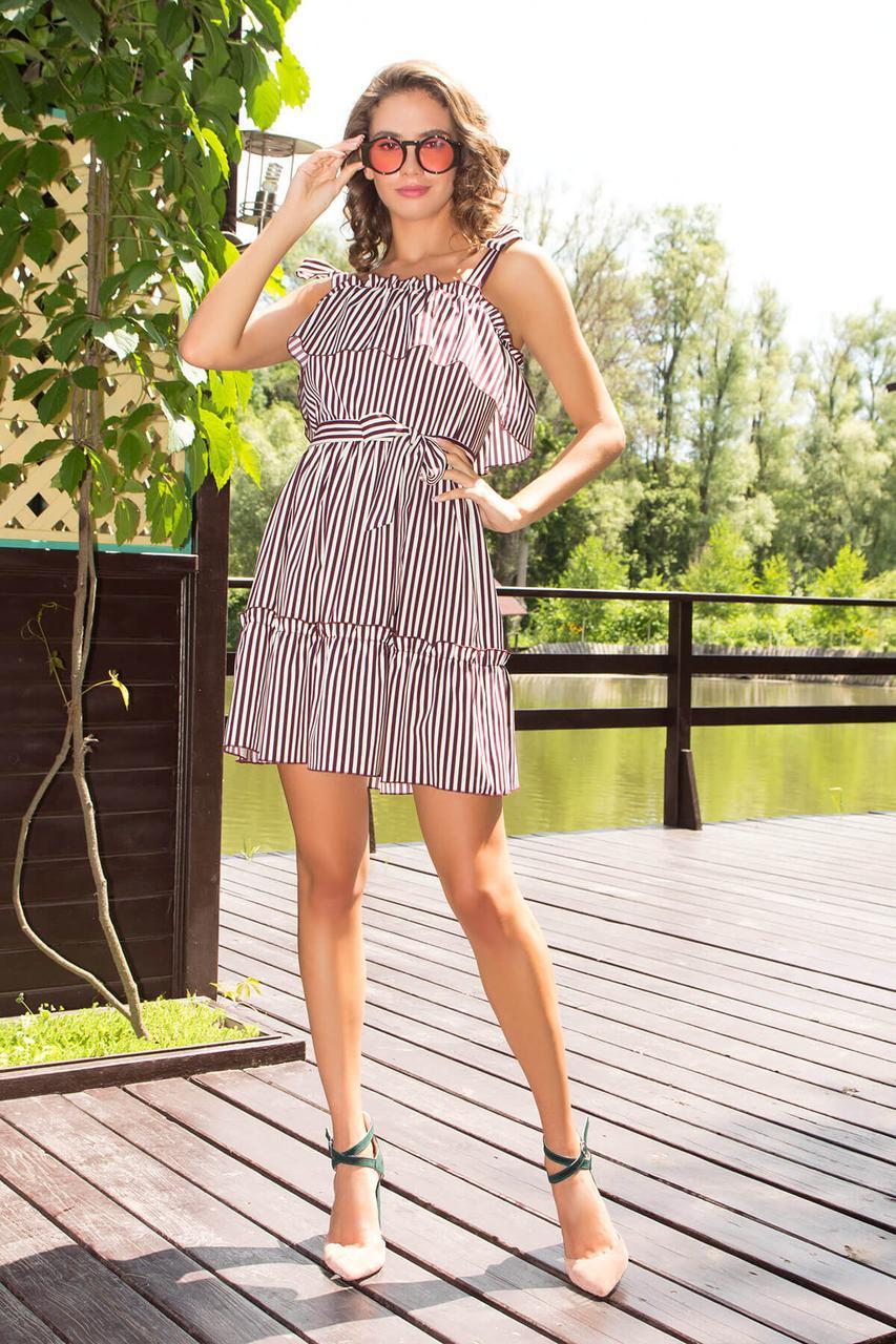 Летнее платье-сарафан короткое в полоску бордовое