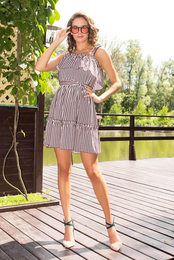 Летнее платье-сарафан короткое в полоску бордовое, фото 2
