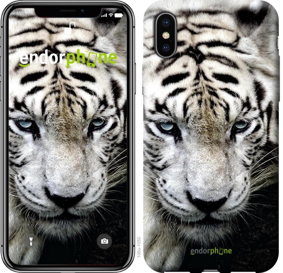 Чехол на iPhone X Грустный белый тигр