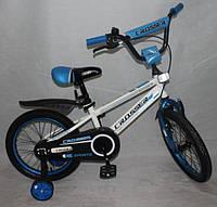 """Велосипед 18"""" дюймов 2-х колесный Crosser C1, ручной тормоз, звоночек, доп.колеса"""