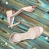 Босоножки женские кожаные на невысоком каблуке, цвет бежевый, фото 3
