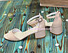 Босоножки женские кожаные на невысоком каблуке, цвет бежевый, фото 4