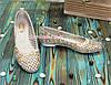 Балетки кожаные женские на маленьком каблуке, фото 2