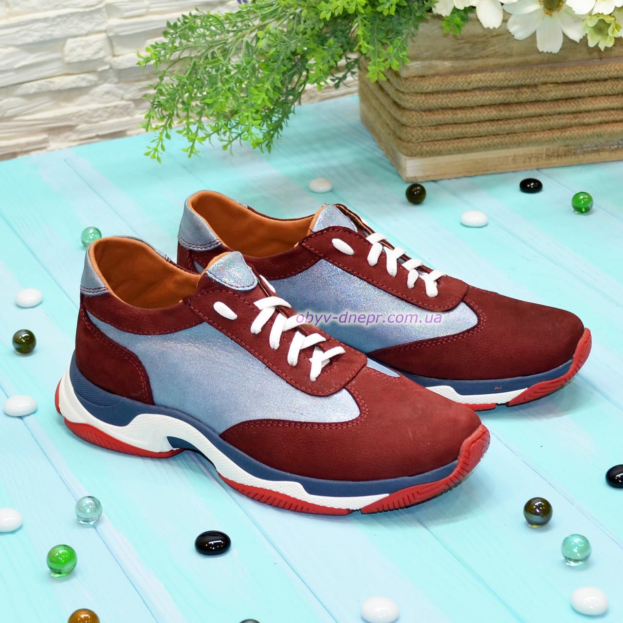 Кроссовки женские комбинированные на шнуровке, цвет бордо/синий