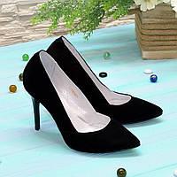 Классические женские туфли на шпильке, натуральный замш черного цвета