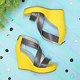 Женские кожаные босоножки на высокой платформе, фото 2