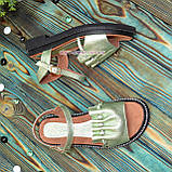 Стильные кожаные босоножки на утолщенной подошве, цвет салатовый, фото 2