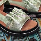 Стильные кожаные босоножки на утолщенной подошве, цвет салатовый, фото 3