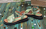 Стильные кожаные босоножки на утолщенной подошве, цвет салатовый, фото 4