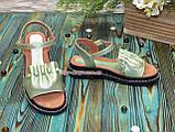 Стильные кожаные босоножки на утолщенной подошве, цвет салатовый, фото 5