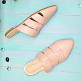 Мюли женские кожаные, цвет пудра, фото 3
