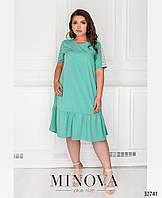 Летнее  платье с кружевом  Большой размер 50-52,54-56