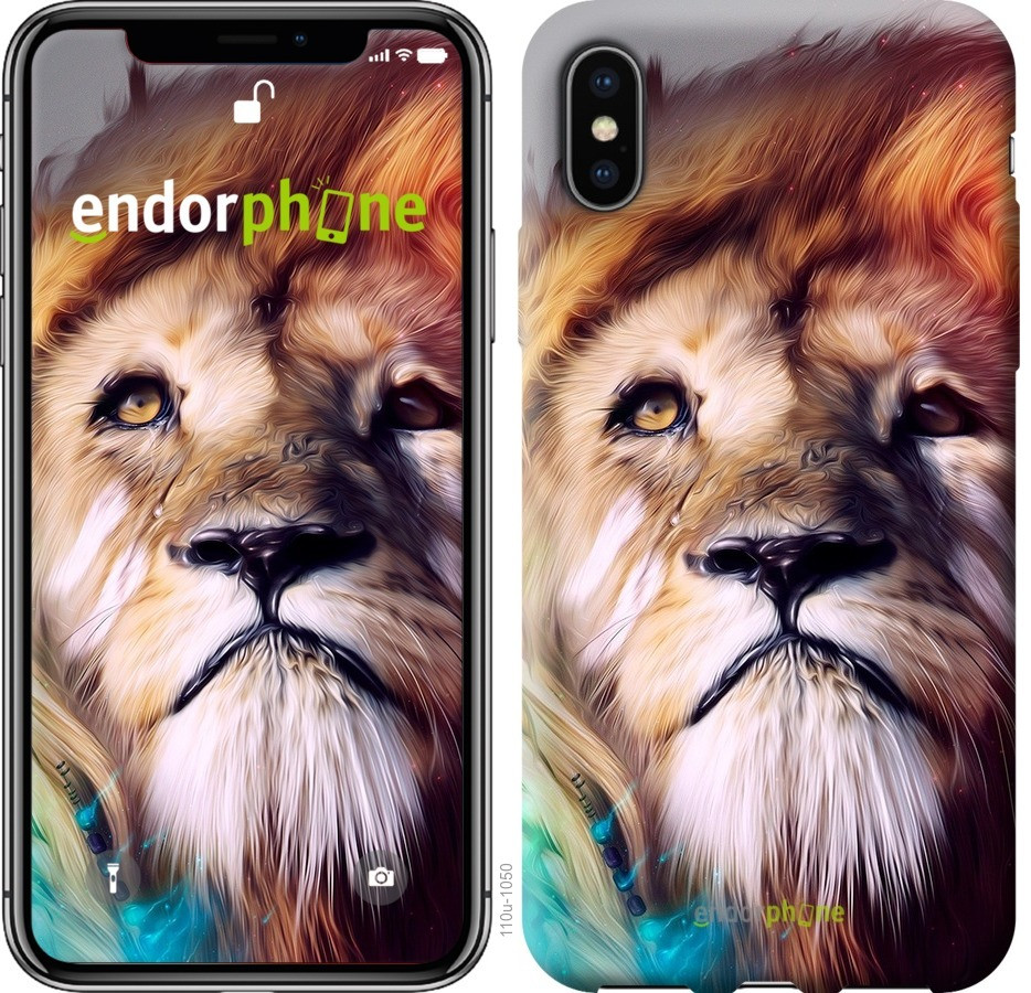 Чехол на iPhone X Красочный лев