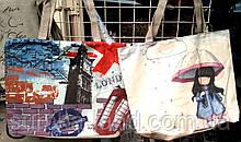 Женские летние пляжные сумки на плечо 37*31 см (зонт, Лондон)
