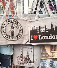 Женские летние пляжные сумки на плечо 42*33 см (Лондон, Париж)